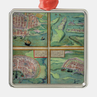 Map of Calais, Malta, Rhodes, and Famagusta, from Christmas Ornament
