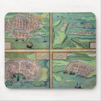 Map of Calais, Malta, Rhodes, and Famagusta, from Mouse Mat