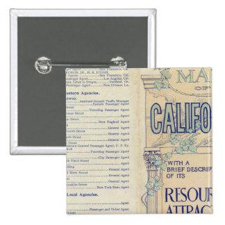 Map of California 2 15 Cm Square Badge