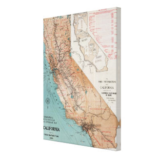 Map of California 2 Gallery Wrap Canvas
