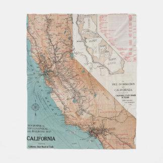 Map of California 2 Fleece Blanket