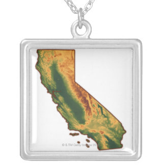 Map of California 2 Silver Plated Necklace