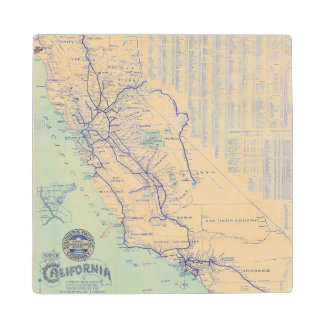 Map of California 4 Wood Coaster