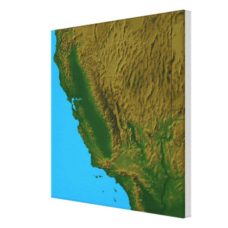 Map of California and Nevada 2 Stretched Canvas Print