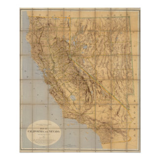 Map Of California And Nevada Poster