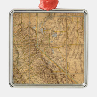 Map Of California And Nevada Silver-Colored Square Decoration