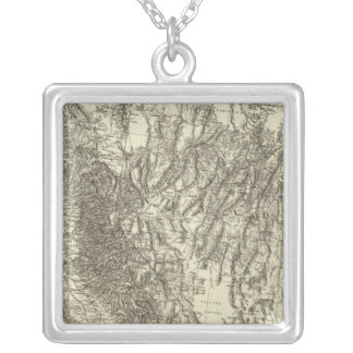 Map of California and Nevada Silver Plated Necklace