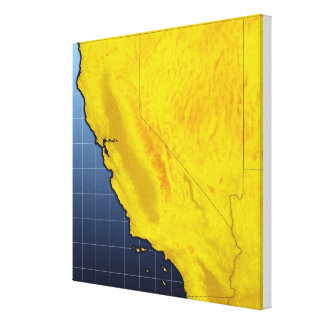Map of California and Nevada Stretched Canvas Print