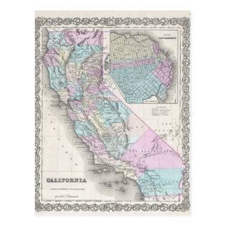 Map of California, Joseph Hutchins Colton Postcard