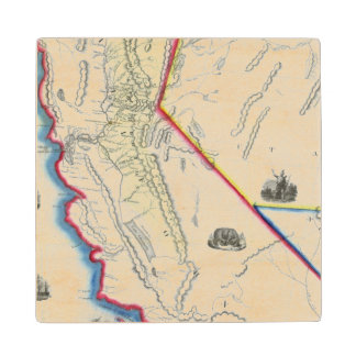 Map of California Wood Coaster