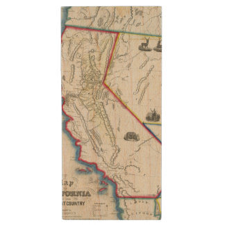 Map of California Wood USB Flash Drive