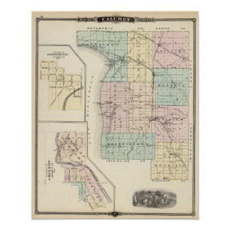Map of Calumet County, State of Wisconsin Poster