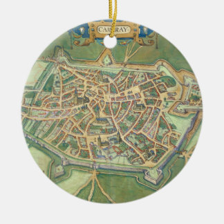 Map of Cambrai, from 'Civitates Orbis Terrarum' by Christmas Ornament