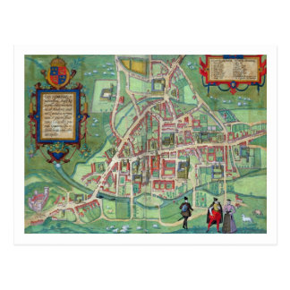 Map of Cambridge, from 'Civitates Orbis Terrarum' Postcard