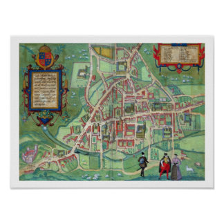 Map of Cambridge, from 'Civitates Orbis Terrarum' Poster