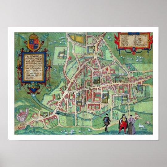 Map of Cambridge, from 'Civitates Orbis Terrarum'