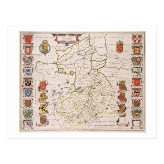 Map of Cambridgeshire, published Amsterdam c.1647- Post Card