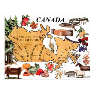 Map of Canada and various representative products Postcard