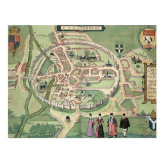 Map of Canterbury, from 'Civitates Orbis Terrarum' Postcard