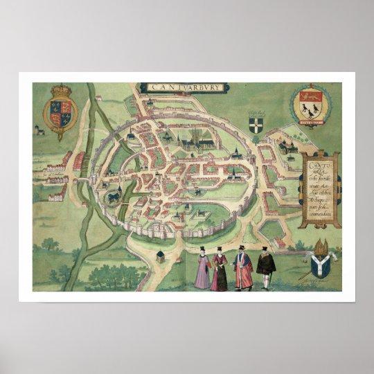 Map of Canterbury, from 'Civitates Orbis Terrarum' Poster