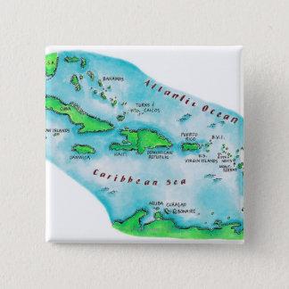 Map of Caribbean Islands 15 Cm Square Badge
