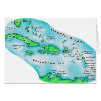 Map of Caribbean Islands Card