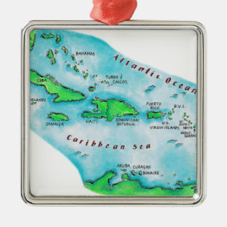 Map of Caribbean Islands Christmas Ornament
