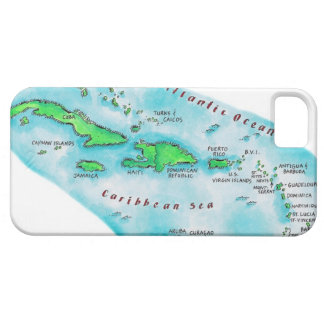 Map of Caribbean Islands iPhone 5 Cases