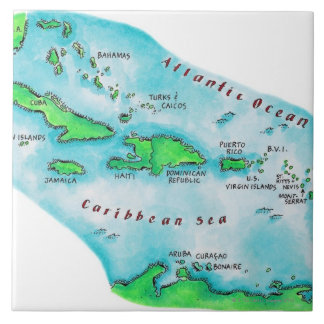 Map of Caribbean Islands Large Square Tile