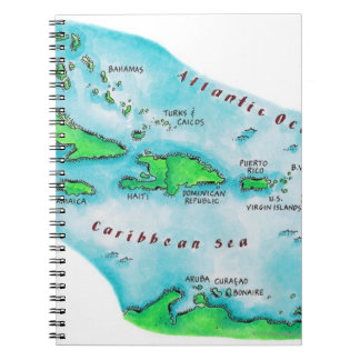 Map of Caribbean Islands Notebook