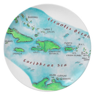 Map of Caribbean Islands Plate