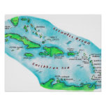 Map of Caribbean Islands Poster