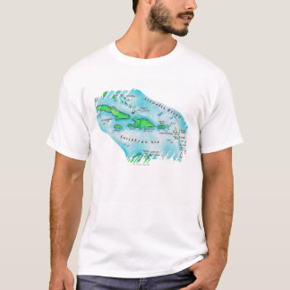 Map of Caribbean Islands T-Shirt