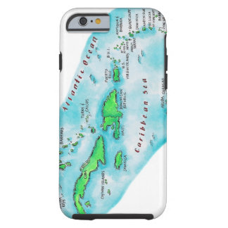 Map of Caribbean Islands Tough iPhone 6 Case