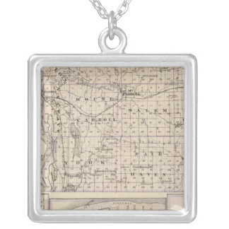 Map of Carroll County, Mt Carroll Silver Plated Necklace