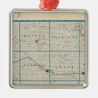 Map of Carroll County, State of Iowa Christmas Ornament