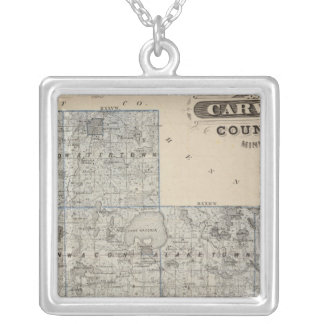 Map of Carver County, Minnesota Silver Plated Necklace