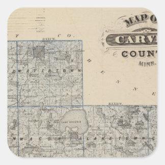 Map of Carver County, Minnesota Square Sticker