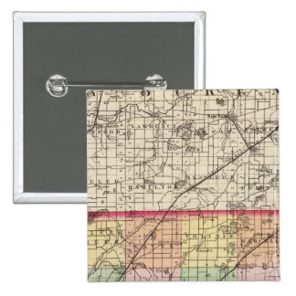 Map of Cass County, Michigan 15 Cm Square Badge