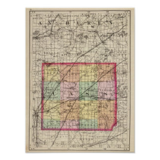 Map of Cass County, Michigan Poster