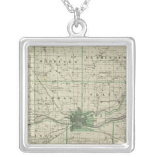 Map of Cass County Silver Plated Necklace