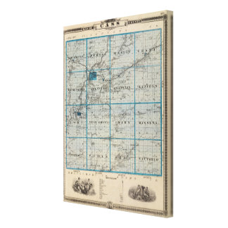 Map of Cass County, State of Iowa Canvas Print