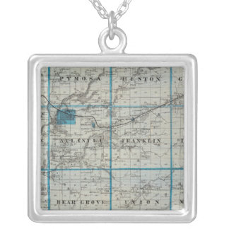 Map of Cass County, State of Iowa Silver Plated Necklace