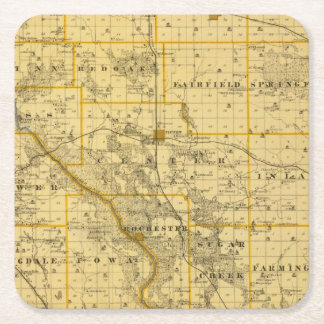Map of Cedar County, State of Iowa Square Paper Coaster