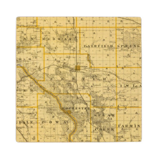 Map of Cedar County, State of Iowa Wood Coaster