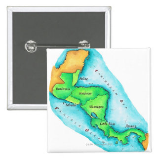 Map of Central America 15 Cm Square Badge