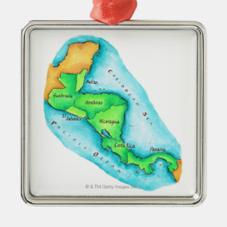 Map of Central America Christmas Ornament