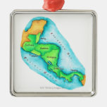 Map of Central America Silver-Colored Square Decoration