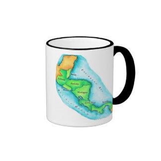 Map of Central America Ringer Coffee Mug