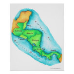 Map of Central America Print